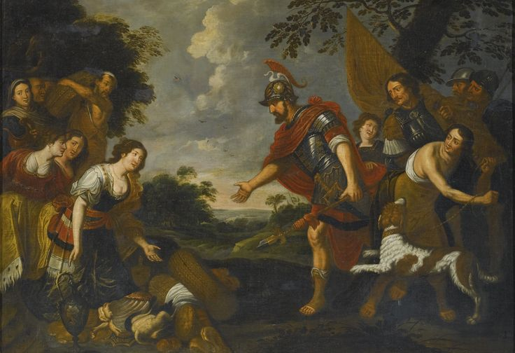 Follower of Theodoor Rombouts THE MEETING OF DAVID AND ABIGAIL oil on canvas 117.8 by 168 cm.; 46 3/8  by 66 1/8  in: