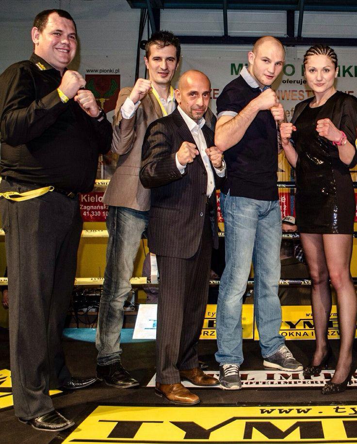 Po zwycięstwie na Gali Tymex Boxing Night Pionki 8.02.2014 - Ewa Brodnicka, Marco Beniamino Brioschi, Maciek Sulęcki