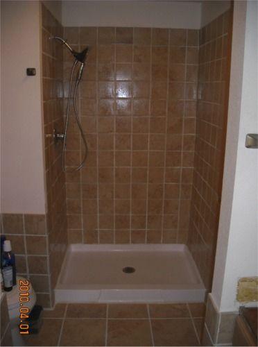 Tiled shower stall  Completed tile shower stall