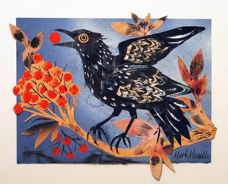 Mark Hearld. Berry Feast, collage, image size 22 x 18 cm