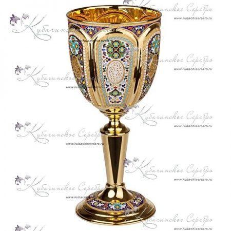 Кубок из серебра , с горячей эмалью!, арт №2229 - «Кубачинское серебро»