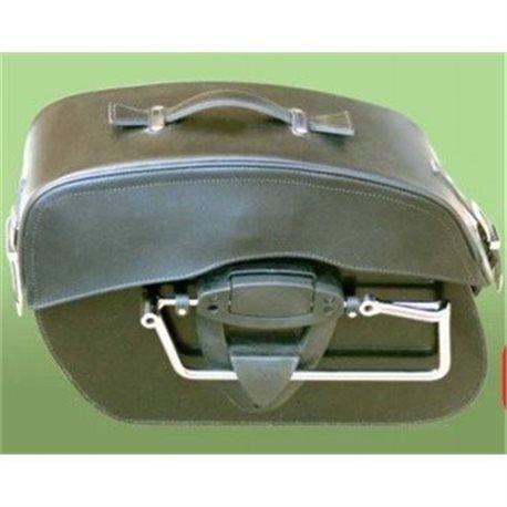 (217086) Alforjas Custom Estandar Piel Marron Klick Fix Sin Tachuelas Spaan (Juego)