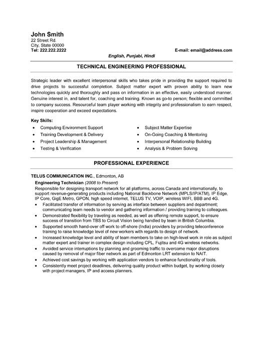 Resume Electronic Technician Up To 11, This Resume Template Will