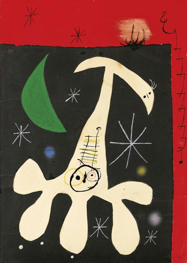 Joan Miró Personnage et oiseau dans la nuit II (17th December 1965)