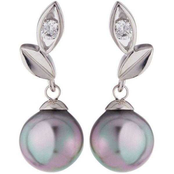 Majorica Pearl Vine Drop Earrings ($52) ❤ liked on Polyvore featuring jewelry, earrings, grey, majorica earrings, pearl jewellery, post earrings, imitation pearl earrings and gray earrings