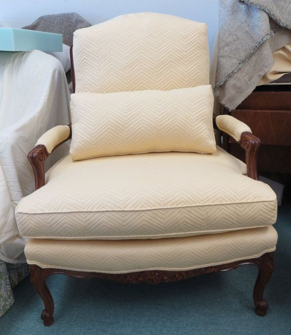 Oversized Sherrill Bergere Chair in Pale Gold by