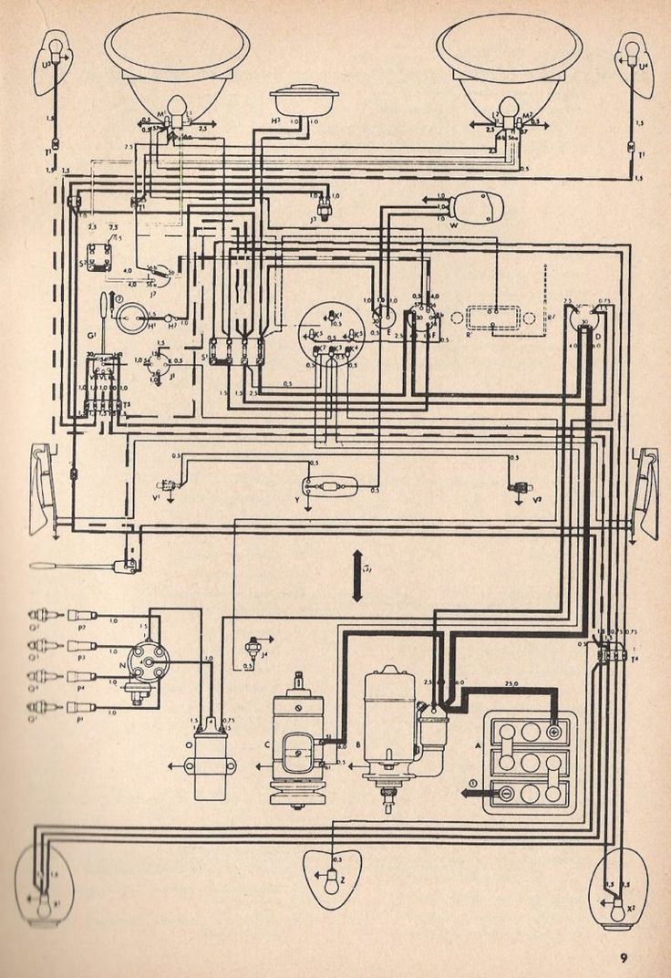 Thesamba Com Type 1 Wiring Diagrams For 1969 Vw Beetle Diagram