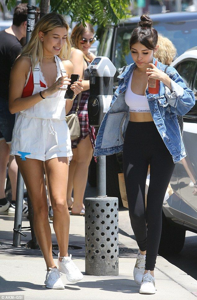 Chill mode: Hailey Baldwin was spotted with ex Justin Bieber's protégée Madison Beer leaving celeb-favourite Urth Caffe in West Hollywood on Thursday