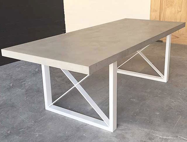 Our latest design - the Metro Dining Table - polished concrete top w/ powder coated aluminium frame. Great for indoor or outdoor dining •••••••••••••••••••••••• Colour- Medium Grey / White Finish- Cream Finish Size- 2400 x 1000mm Other sizes and colours available