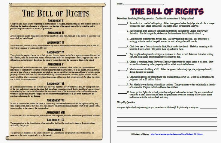 bill of rights printables analyzing bill of rights scenarios worksheet homeschool stuff. Black Bedroom Furniture Sets. Home Design Ideas