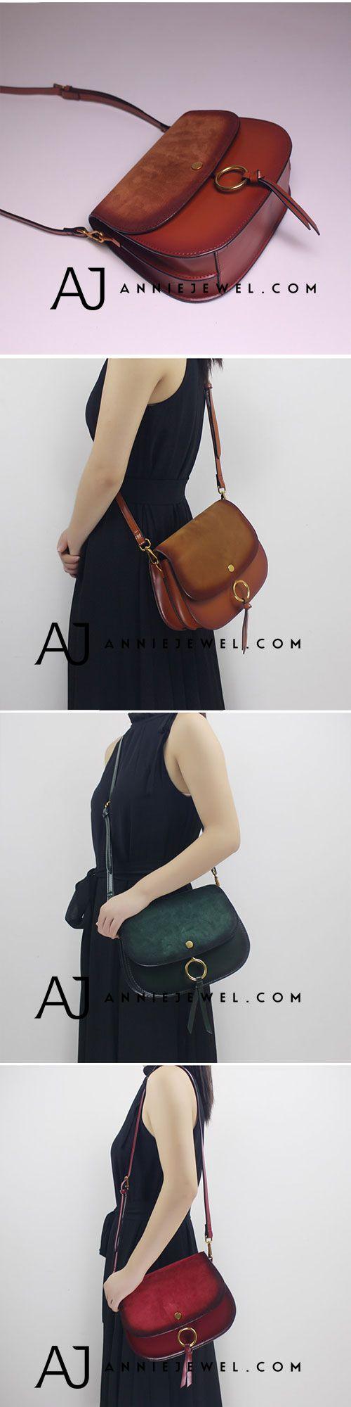 GENUINE LEATHER HANDBAG SADDLE BAG SHOULDER BAG CROSSBODY BAG PURSE CLUTCH FOR WOMEN