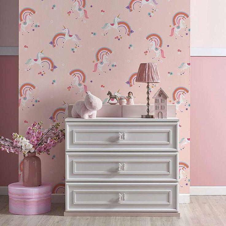 Metallic Unicorn Wallpaper Dunelm With images Girls room wallpaper Unicorn bedroom kids