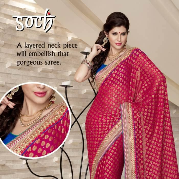 The perfect accessory for the perfect outfit. #Soch #Style #Fashion #Indian #Accessories #Necklace #Saree