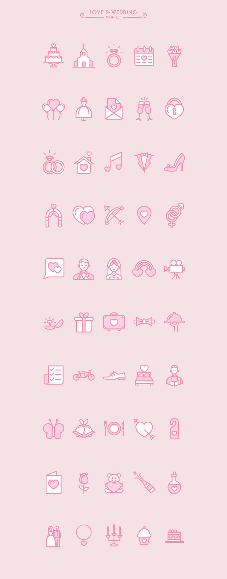 Love & Wedding icon set (free) on Behance