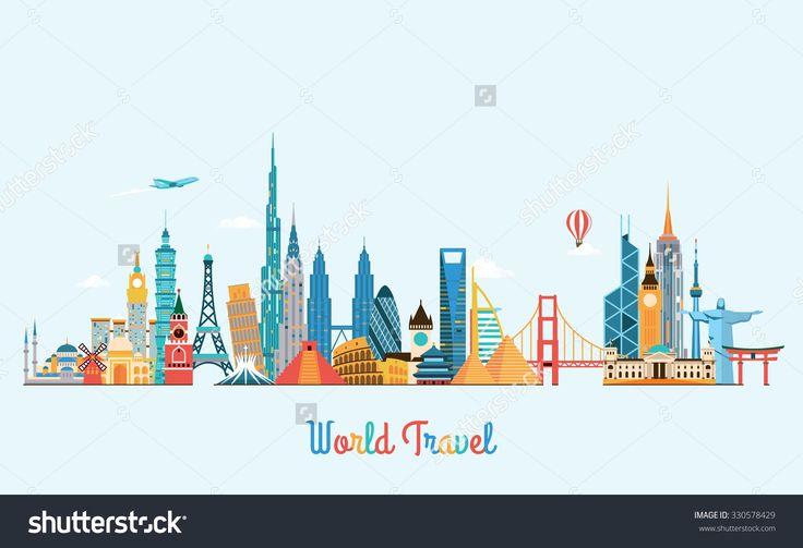World Skyline. Travel And Tourism Background. Vector Flat Illustration - 330578429 : Shutterstock