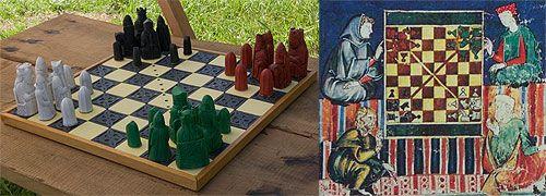 Scacchi delle Quattro Stagioni. Ricostruzione effettuata da More Ianuensis utilizzando i pezzi degli scacchi Lewis