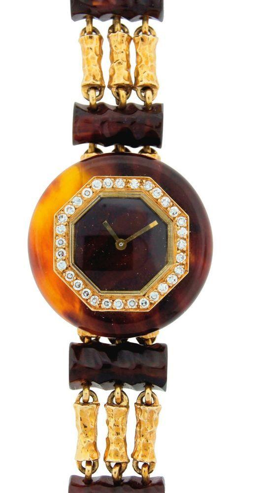 c.1970's BOUCHERON DIAMOND BAKELITE & YELLOW GOLD LADIES WATCH - Chic! Different #Boucheron #Casual #1970s #vintage #diamond #bakelite #yellowgold #watch