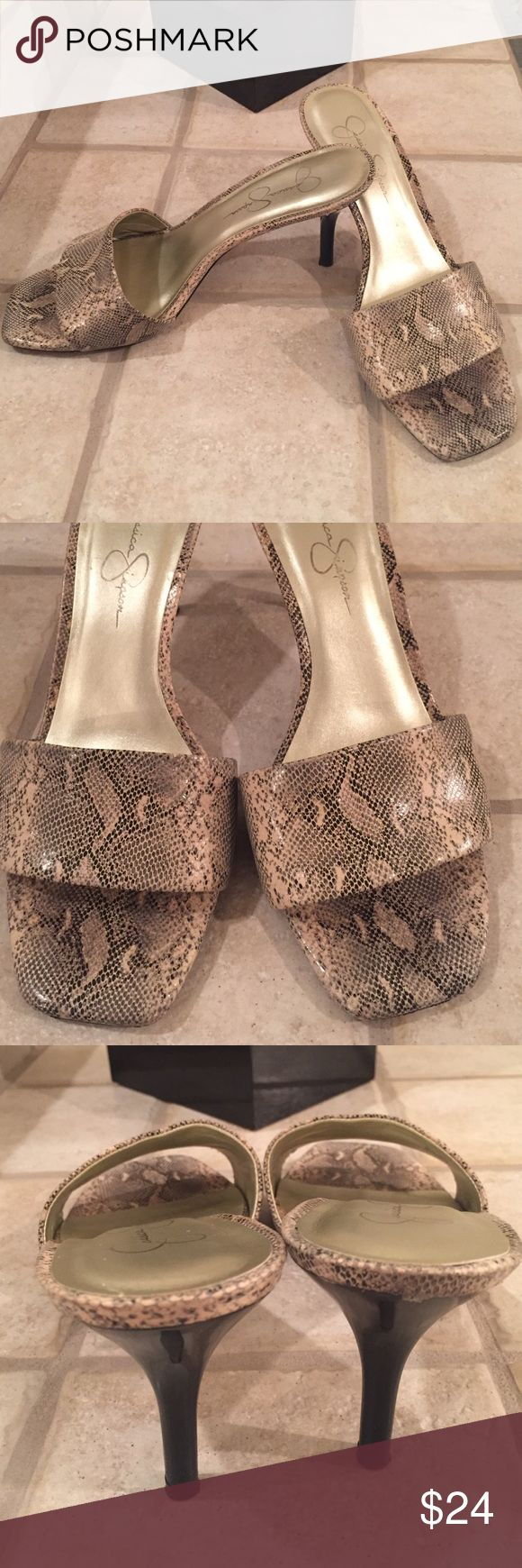 """Jessica Simpson Snake Skin Heels Size 8.5 B Jessica Simpson """"Clarina"""" slip on open toe heels Size 8.5B. 3"""" heel height. Super comfortable! Worn but have plenty of life left in them. 🚫Trades Jessica Simpson Shoes Sandals"""