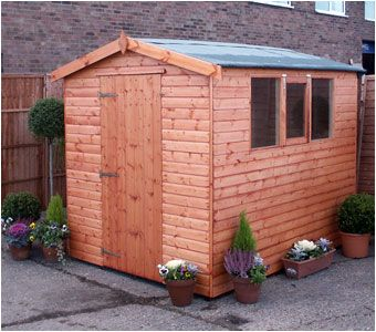 A traditional apex shed, available in sizes from 4'x4' up to 24'x12'.  Avaiable from Adrian Hall Garden Centres, Feltham.