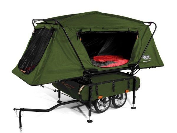 Bicycle Camper Trailer by Kamp-Rite developed specifically for bicycle touring and camping enthusiast. Bicycle Camper Trailer features an innovative oversized… Small Pop Up Campers, Tiny Camper, Popup Camper, Kombi Motorhome, Camper Trailers, Camper Caravan, Campervan, Camping Survival, Camping Gear