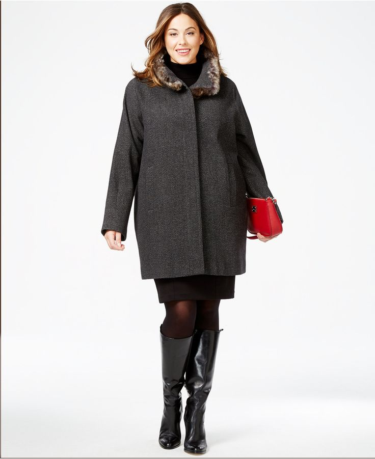 Jones New York Plus Size Faux-Fur-Collar Heathered Coat ...