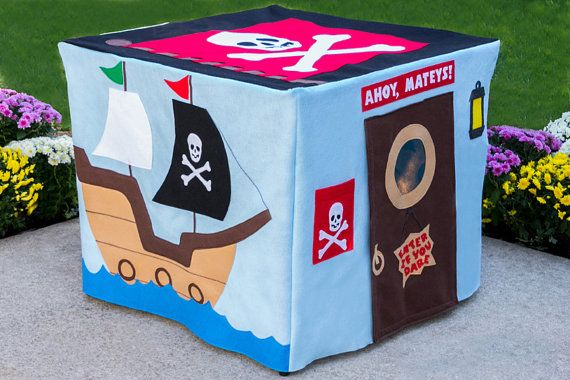 Fort cover for a card table, genious.  Pirate Adventure Card Table Playhouse Toy by missprettypretty, $210.00