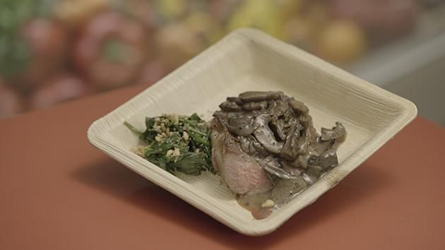 Steak with Mushroom Sauce and Creamy Spinach