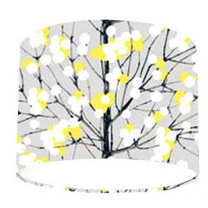 Drum Lampshade Marimekko Fabric Lumimarja Grey Yellow Black Branches With Green And White Berries On A Background The Just Stuff