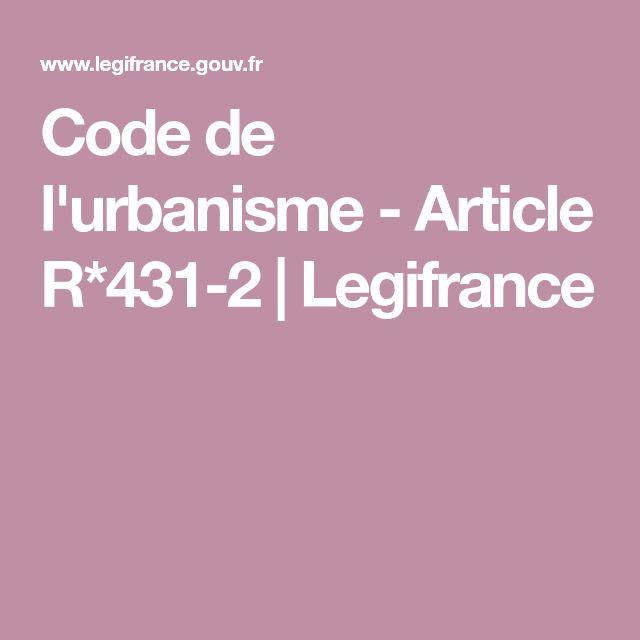 Code de l'urbanisme - Article R*431-2 | Legifrance