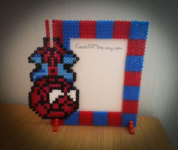 SpiderMan photo frame perler beads by GeekofMine