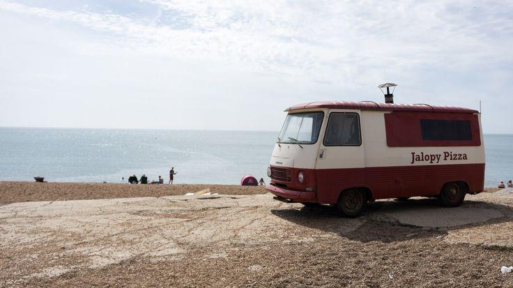 Old pizza truck at Golden Cap, Dorset, England