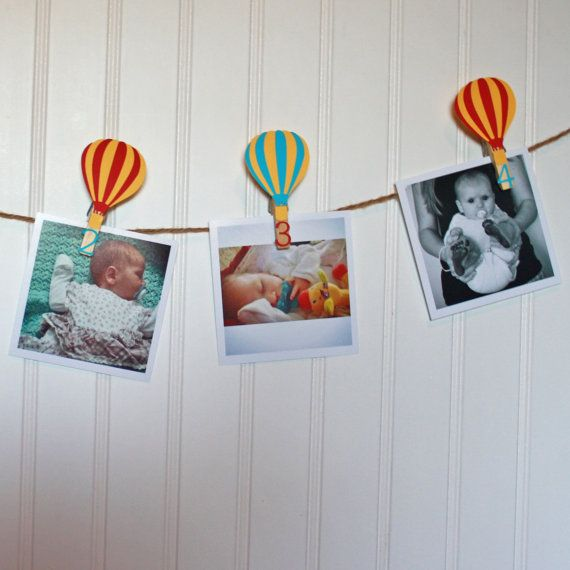 Hot Air Balloon First Birthday Party. Hot air balloon monthly photo banner. Littlebitshomemade