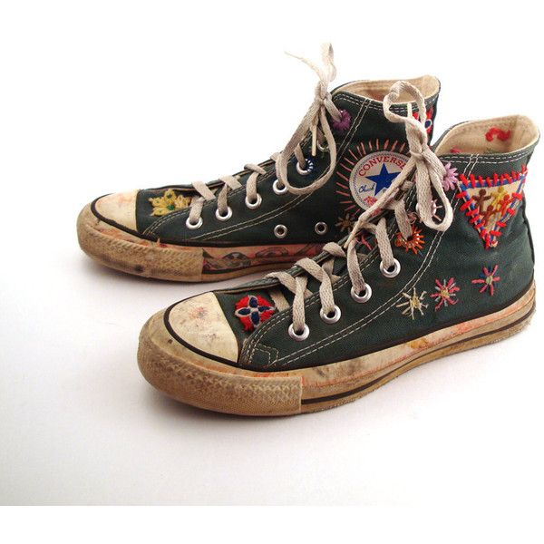 Converse Shoes Sneakers 70s Vintage 1970s Lace Up High Hi top Patched... (560 CNY) ❤ liked on Polyvore featuring shoes, sneakers, converse, schuhe, polka dot shoes, lace up shoes, lace up sneakers, converse shoes and tall shoes