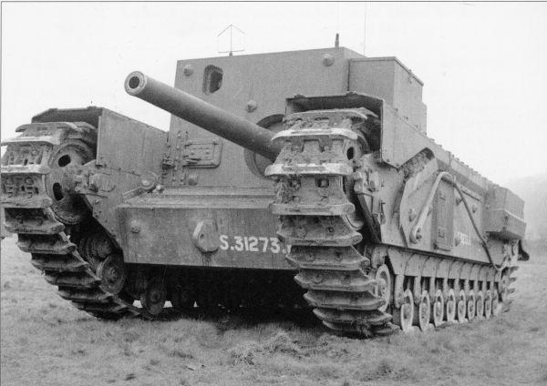 "Churchill 3"" Gun Carrier, A22D was an attempt to put a high-velocity gun on tank chassis to give fire power to match the German 88mm gun."