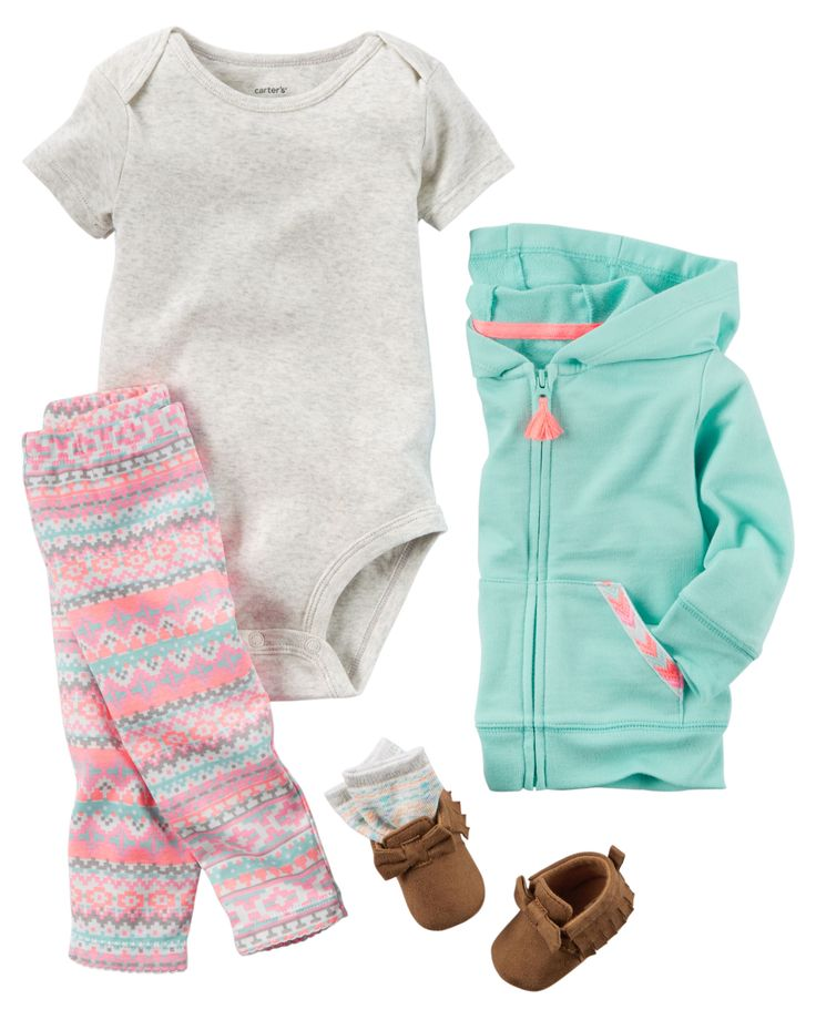 In a soft terry cotton, this cardigan set is complete with printed cotton pants and a soft bodysuit.