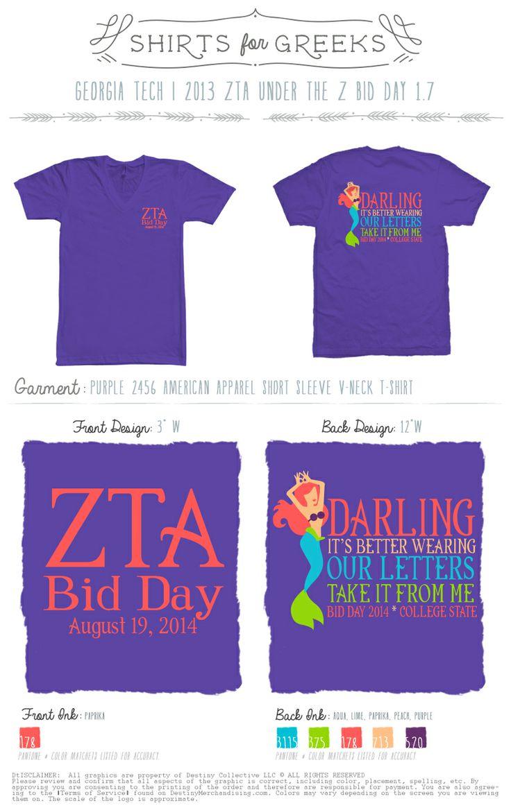 Zeta Tau Alpha | Bid Day | Under The Z | Little Mermaid | Tshirt Ideas | Cute Designs | Better In Our Letters | shirtsforgreeks.com