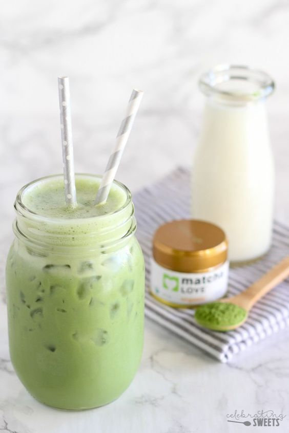 Iced Matcha Green Tea Latte - Lightly sweetened, with a subtle hint of vanilla.: