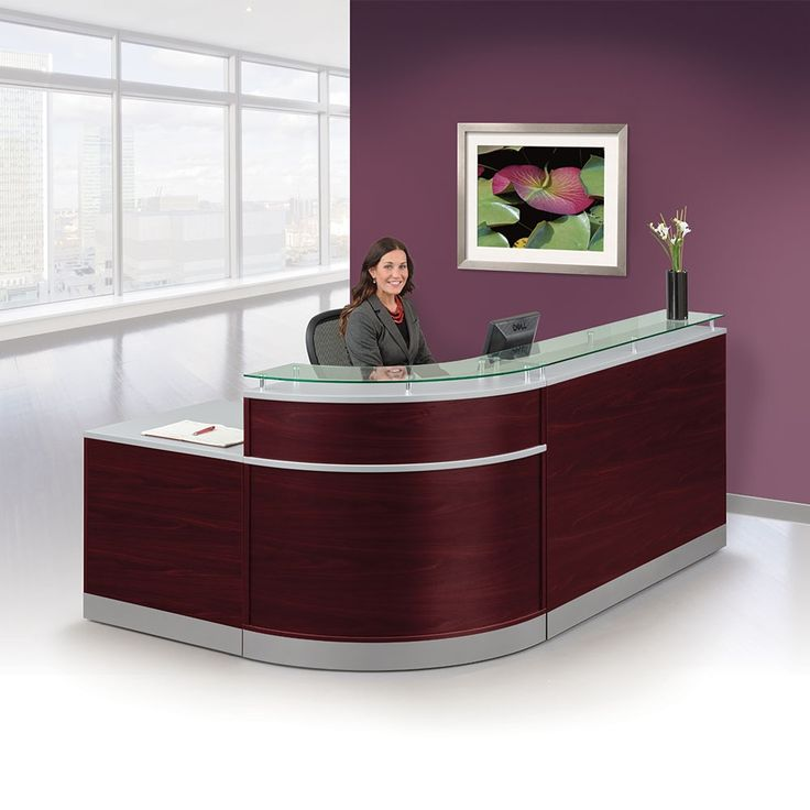 Esquire Glass Top Reception Desk With Ada Return 95 Quot W X