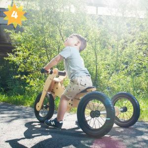 The Trybike Wooden 4-in-1 Trike and Balance Bike teaches children to walk and ride from 12 months of age. With its unique 4-in-1 concept it can grow along with your child. The first setting on the Trybike is a low tricycle. The low tricycle can be used by children as young as 12 months and supports them to start walking and riding. The next stage of riding and the next setting on the Trybike is the low bicycle. This setting is ideal for children aged two to four years and encourages them to…