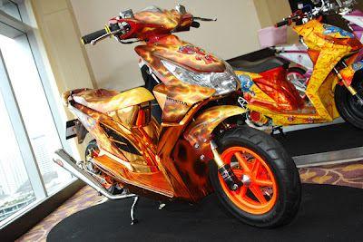 Modifikasi Honda Beat airbrush orange
