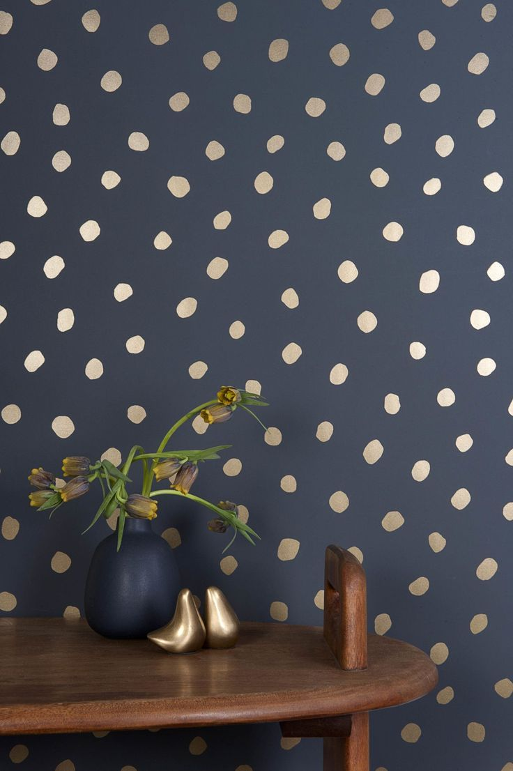 WANT : Irregular navy blue and gold polk dots. NOT WANT : having to pay $200USD for a 4.5 metre roll.