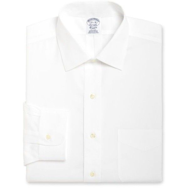 Brooks Brothers  Blue Label Slim Fit Non-Iron Ainsley Dress Shirt ($70) ❤ liked on Polyvore featuring men's fashion, men's clothing, men's shirts, men's dress shirts, white, mens slim fit non iron dress shirts, mens white shirts, mens slim fit shirts, mens blue shirt and mens blue dress shirt