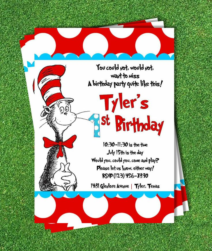 59 best dr. seuss party ideas images on pinterest | dr suess, Birthday invitations