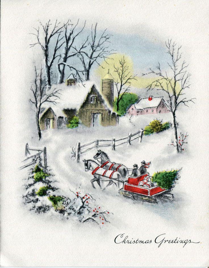Vintage Butler-Thomas Christmas Card: Farm Scene with Sleigh