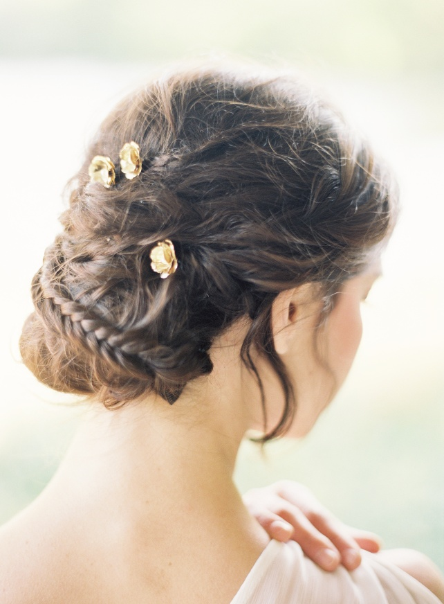 Pretty little braided updo with gold pins | Styles on B & Hushed Commotion | Jen Huang Photo