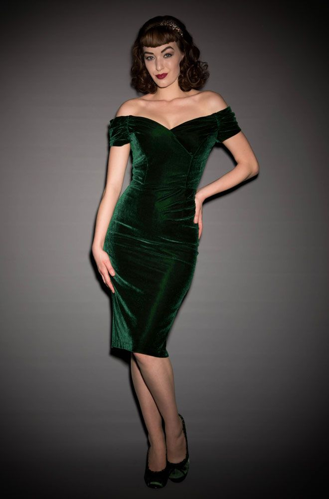 67de9b8c0f57 Velvet Fatale Dress - a 1950 s style forest green Bardot off the shoulder  wiggle dress by the Pretty Dress Company