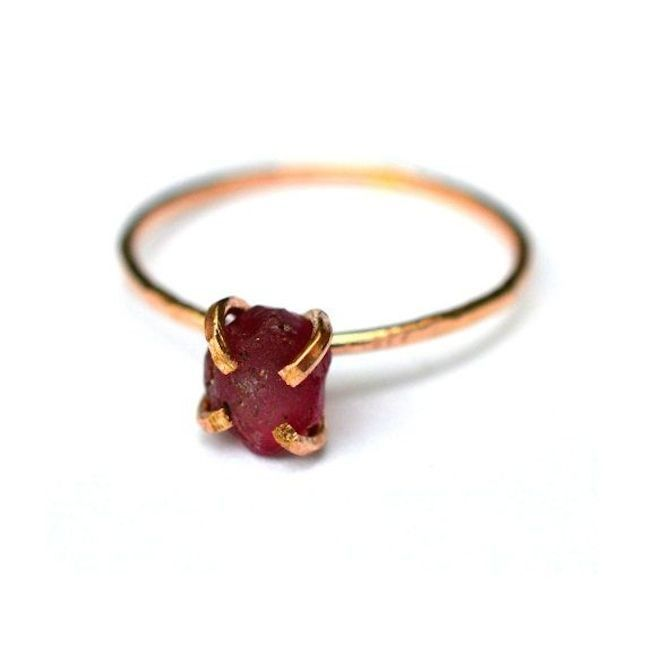 Give off serious indie vibes with this boho-inspired raw garnet engagement ring.