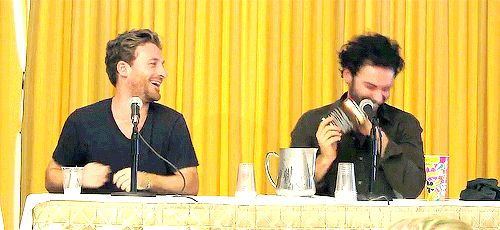 Dean O'Gorman & Aidan Turner (gif set) In which they are actually 12-year-old boys...