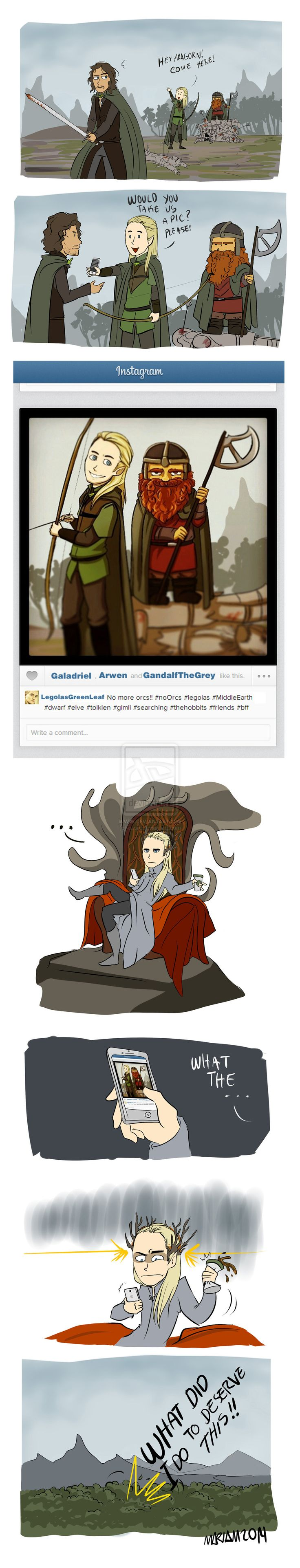 "The Best Friends by eliort.deviantart.com on @deviantART - ""Lord of the Rings"" silliness, featuring Aragorn, Legolas, Gimli, and Thranduil. To fully get what's going on, you'd need to know that Thranduil (Legolas' father) and Gloin (Gimli's father) have some bad blood that's laid out in detail in ""The Hobbit"". ;)"