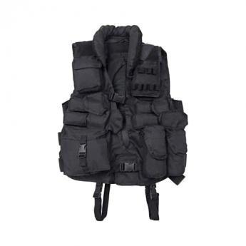 Tactical Weste schwarz mit Lederbesatz. Die Einsatzweste für alle Army- und  Outdoorfreunde. Praktische